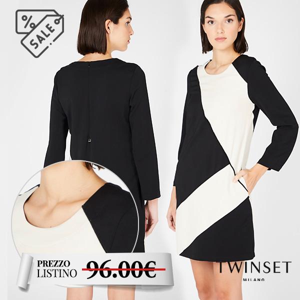Abito bicolore corto con manica lunga - Twinset, abito bicolore corto con manica lunga. Bianco e nero.