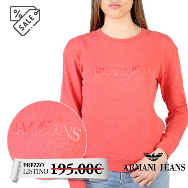 Felpa donna Armani Jeans - Felpa donna Armani Jeans. Maniche lunghe. Scollo felpa rotondo. Materiale 100% cotone. Logo frontale.