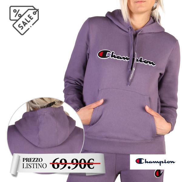 Felpa donna Champion viola - Felpa donna Champion viola con cappuccio. Maniche lunghe. Realizzato in cotone al 100%. Tasca frontale.