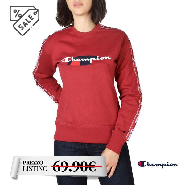 Felpa donna Champion - Felpa donna Champion, maniche lunghe. Scollo felpa rotondo. Maniche e fondo elasticizzati. Colore rosso con logo Champion fontale.