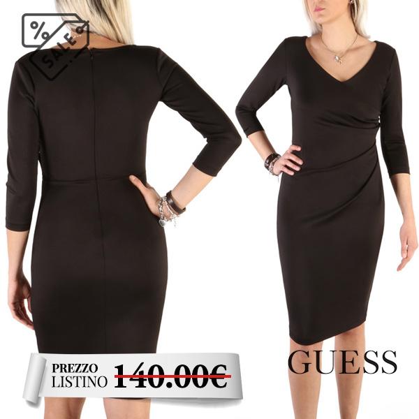 Abito nero donna Guess - Abito donna Guess maniche a 3/4. Scollo a V con chiusura a zip nella parte posteriore. Colore nero.
